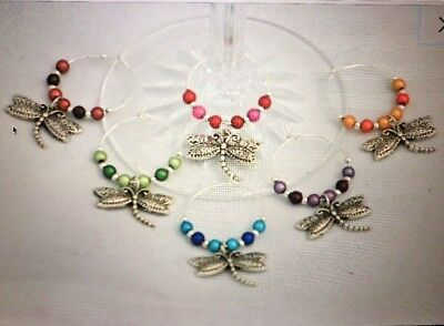 Handcrafted dragonfly wine glass marker 6 large silver plated rings