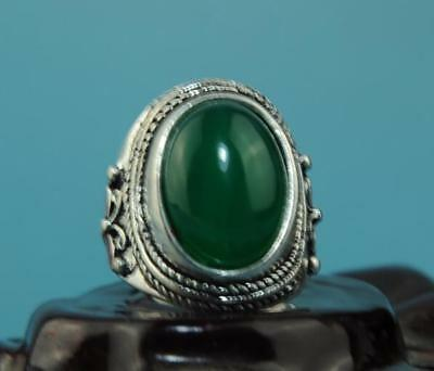 Collect China silver inlay jade carve cloisonne butterfly ring a01