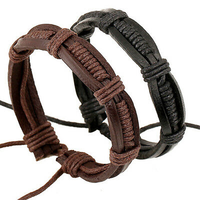 Adjustable Men's Leather Wrap Braided Wristband Cuff Punk Women Bangle Bracelet