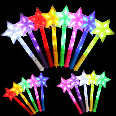 LED Light Up Stick Star Shape Party Decorative Glowing Wands Rod Gift Wide