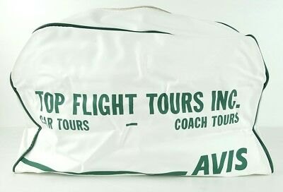 Avid Top Flight Tours Inc Car/Coach Tours Vintage Travel Bag White/Green N3