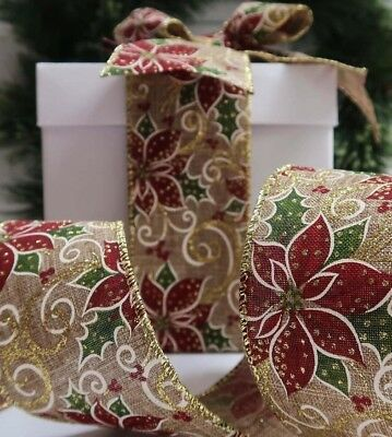 63MM Wire Edge POINSETTIA CHRISTMAS Burlap Ribbon Wreath New Year Party deco DIY