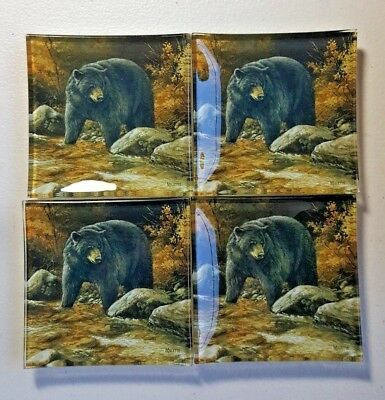 Set of 4 Small Glass Black Bear Plates or Trays by Rosemary Millette