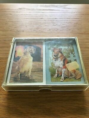 Vintage Duratone Double Deck Playing Cards Dogs w/Box 52 +Jokers Collie Spaniel
