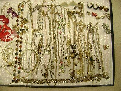 Vintage 55 NECKLACES, EARRINGS,RINGS, JEWELRY, MIXED BRANDS Estate Junk Drawer