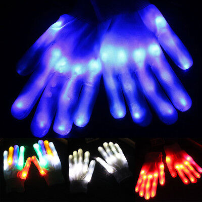 LED Flashing Gloves Light Up Halloween Xmas Dance Rave Party Festival Accessorie