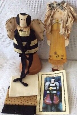 Buzz Bee Cloth Doll & Pattern, Painted Wood Doll Craft Sewing Quilting Fabric