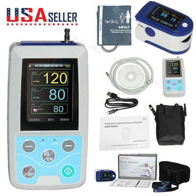 24hour NIBP Ambulatory Blood Pressure Monitor Sphygmomanometers+SPO2+Software,US