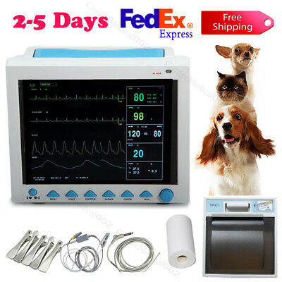 Veterinary Patient Monitor Portable Ainmal Machine Vital Signs Monior+Printer,US