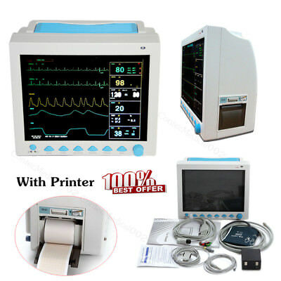 Patient Monitor 6 Parameters ICU Vital Signs Monitor with Printer,ECG NIBP SPO2