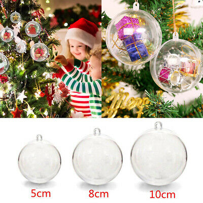 200X Plastic Clear Christmas Balls Baubles Sphere Fillable Xmas Tree Ornament