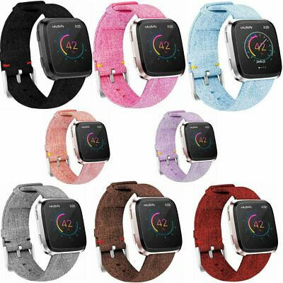 For Fitbit Versa Woven Canvas Fabric Replacement Wristband Watch Wrist Band POY