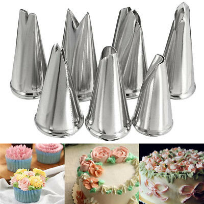 7pcs Set Icing Piping Nozzles Stainless Steel Cake Pastry Tips Cupcake Decor