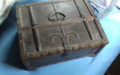 Antique Wooden Box, document Chest With decrative Iron work Detail