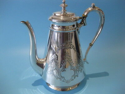 Beautiful Antique Large Ornate Hand-Engraved Silver Plated Tappered Coffee Pot