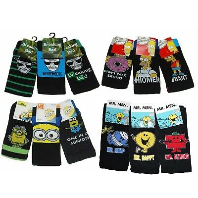 Mens Novelty Character Socks Simpons Family Guy 3 Pairs Fathers Day Gift