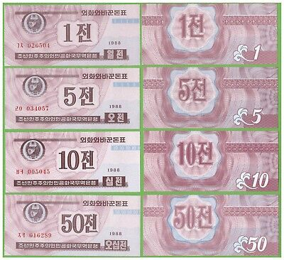 Korea - 1,5,10,50 Chon - 1988 - Red-Brown Color - P-23,24,25,26  - Unc