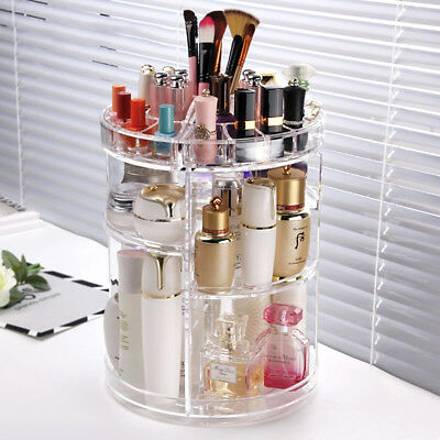 Acrylic Makeup Organiser 360° 3 Layer Rotating Clear Cosmetics Holder Storage AU