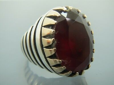 Turkish Handmade Jewelry 925 Sterling Silver Ruby Stone Men's Ring Sz 9