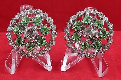 Vintage PERIDOT RHINESTONE PAIR Brooch Pin Lot GIFT BOXED