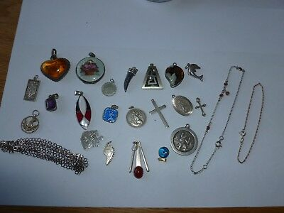 job lot silver pendants /braclets