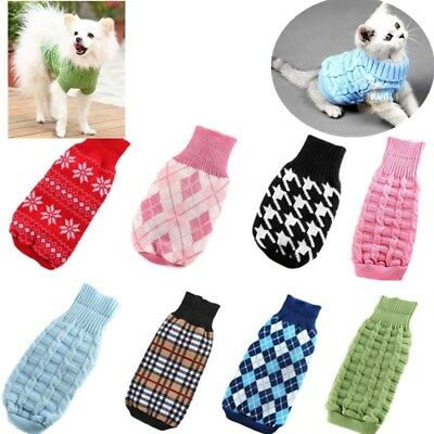 Small Dog Cat Clothes Pet Puppy Warm Knit Sweater Coat Jacket Outwear Costumes