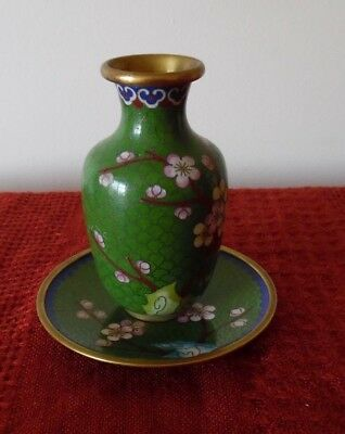 VINTAGE SMALL ORIENTAL ENAMEL BRASS CLOISONNE VASE and PLATE :  11cms high