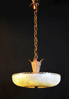 Vintage French 1930 art deco circular opaque frosted Moulded Glass pendant light