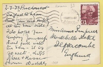 A 2953 Bucharest March 1938 real photo postcard to UK