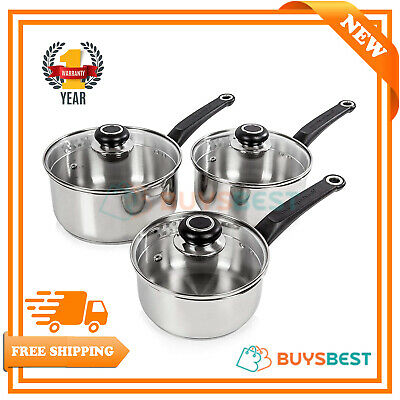 Morphy Richards Equip Stainless Steel 3 Piece Pan Set With Lid Knobs - 970003