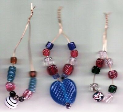 """Group Ofthree """"ready To Use"""" Lace Bobbin Spangles Using Antique Glass Beads"""