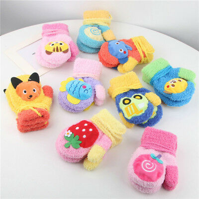 Lovely Baby Cartoon Thicken Stitching Girls Boys Winter Warm Gloves 2-8 Years