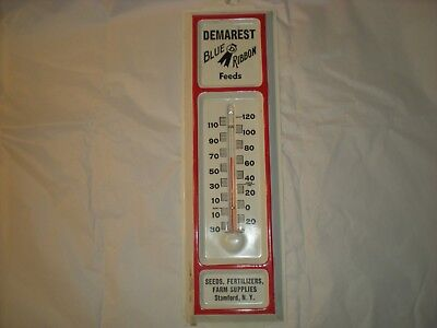 Vintage Tin Wall Thermometer Demarest Feed Store Stamford, NY