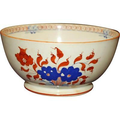 c.1820 Bowl, Deep Orange and Blue on Cream, Chinoiserie