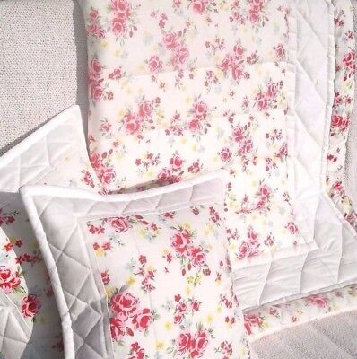 Vintage rose, shabby chic cot/ bed quilt + cushion covers 100% cotton