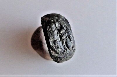 ROMAN BRONZE RING with GOD MARS CURVED on the BEZEL .Circa 1st-3rd century AD.