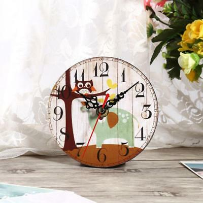 1x Vintage Rustic Wooden Wall Clock Home Antique Shabby Retro Home Decor Gifts
