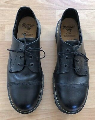 Vintage Dr Martens Made In England Black Steel Toe Shoes 12uk Amazing Condition