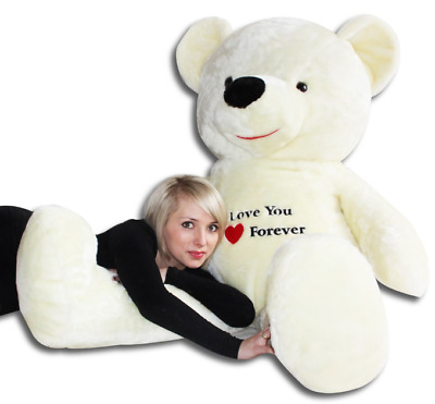 "Giant Teddy Bear 180 Cm Ecru Large Big Huge With Embroidery  ""i Love You"""