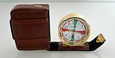 Alarm clock travel Quartz - Housing Golden - Case Suitcase Burgundy - Wehrle