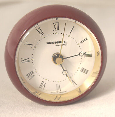 Alarm clock Wehrle red with roman numerals, index luminous needles luminous