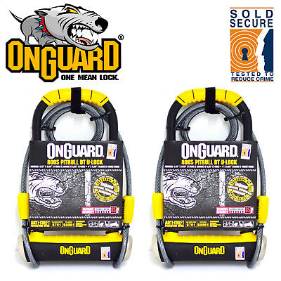 2x OnGuard Pitbull DT 8005 Bike U Locks with Cables - Sold Secure Gold (Pair)