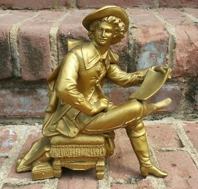 Antique French Spelter 19th C Gilted Figural Industrialist Clock Statue Figure!!