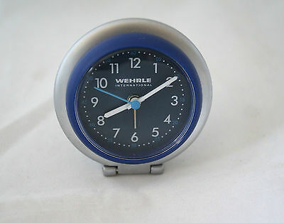 Alarm clock travel quartz outline cadran blue, brand Wehrle international