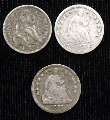 Lot of 3 Different  Seated Liberty Half Dimes   Good - Fine