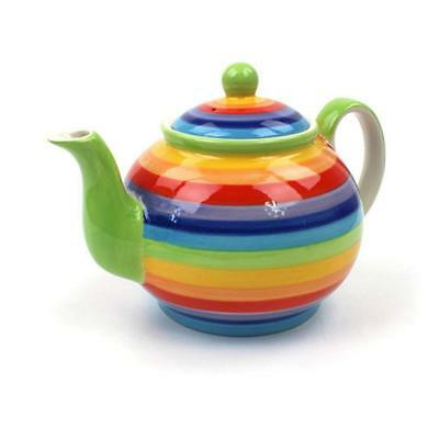 Ceramic Rainbow Striped Large Teapot 4 Cup / 1 Litre Capacity By Windhorse