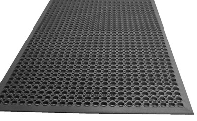 "Black Anti-Fatigue Grease-Resistant Beveled Floor Mat 36""x60""x 1/2"""