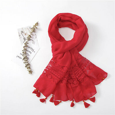 Women Lace Tassel Hollow Floral Scarf Shawl Lady Spring Autumn Wraps Scarves LH