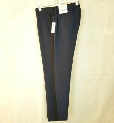 NWT Old Navy Harper Pull On Pants Contrast Stripe Cropped Navy Blue Women's 2