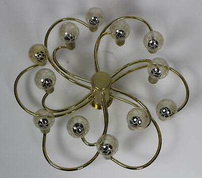 Messing Sputnik Lampe Design Brass Lamp 12 Bulbs Goldfarbend